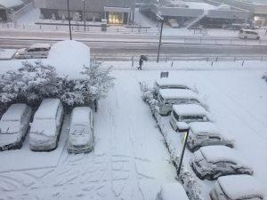 相模原・町田・八王子で自然素材の健康住宅を提供する相陽建設では、積雪で駐車場が白く染まりました