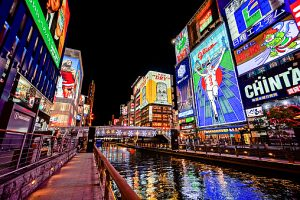 Dotonbori Area along the River at Night in Osaka J