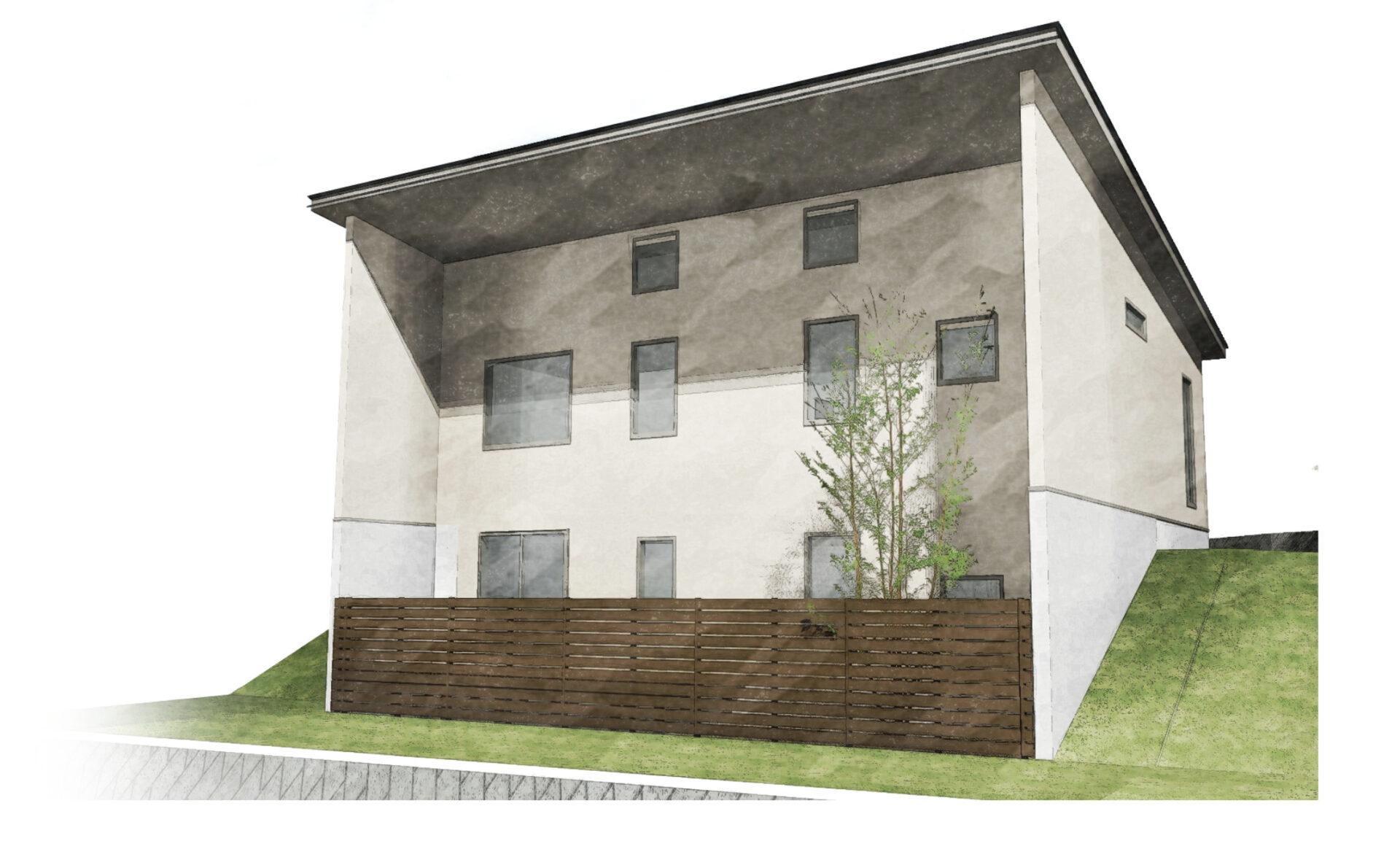 坂道に建つ建物をイメージしたパース